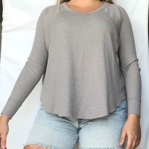 Free People We The Free Gray Long Thermal Top XS